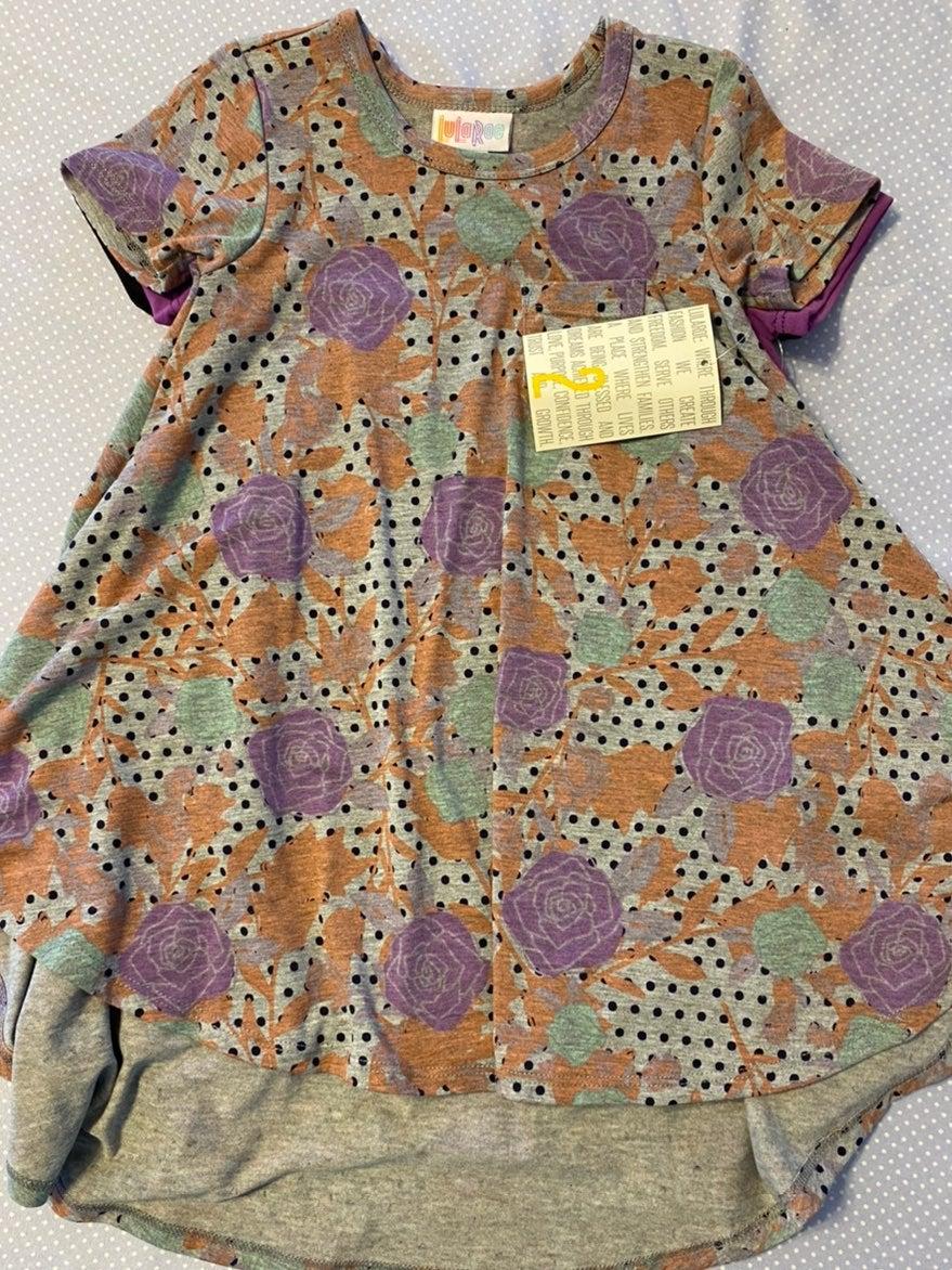 LuLaRoe Kids Scarlett Gray Purple Floral