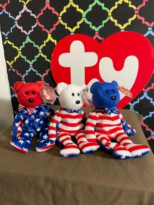 Liberty Bear Ty Beanie Baby Set