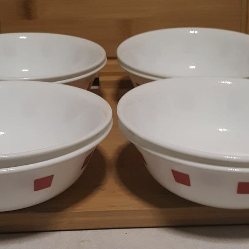 """8 CORELLE URBAN RED CEREAL BOWLS 6¼"""""""