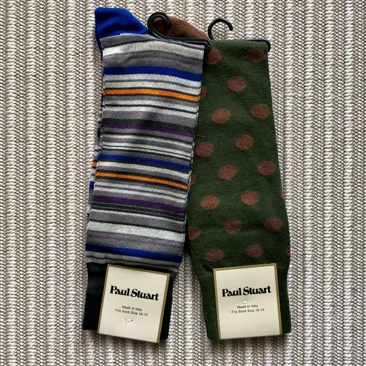 Mens Crew Socks - Grey Stripe/Green Dot
