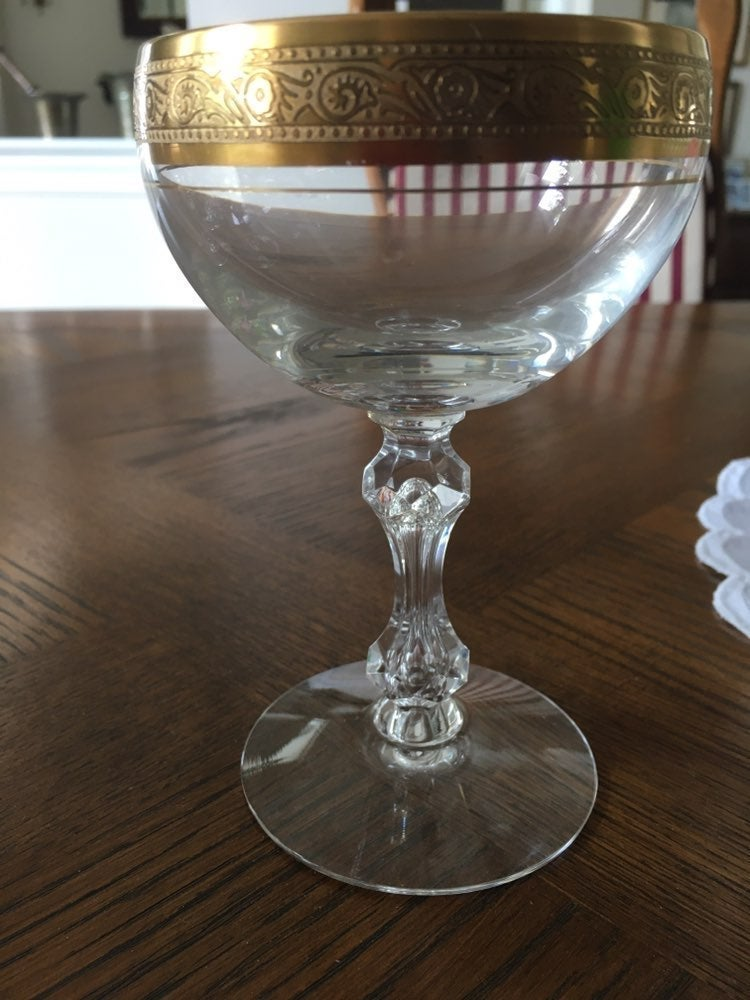 Champagne glasses - Gold banded