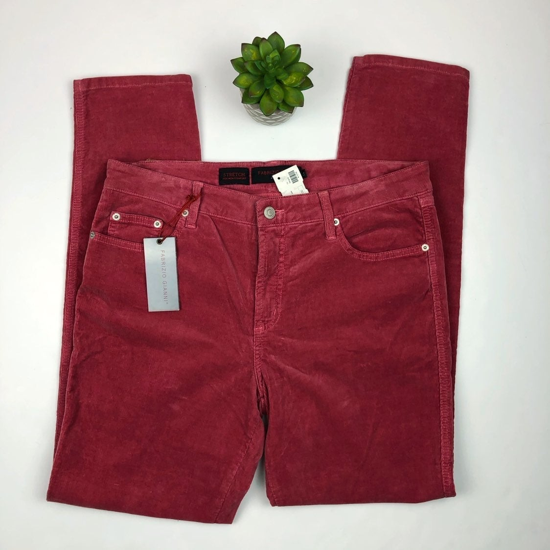 Fabrizio Gianni Red Corduroy Pants NWT