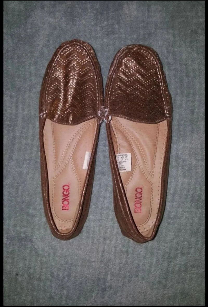 Gold loafers size 10