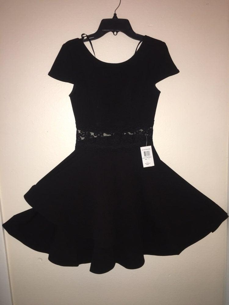 B. Darlin Black A-line Flounce Dress 1/2