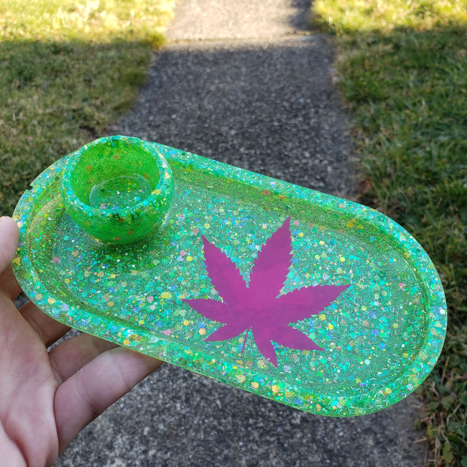 Handmade Rolling Tray Stoner Hippie Art