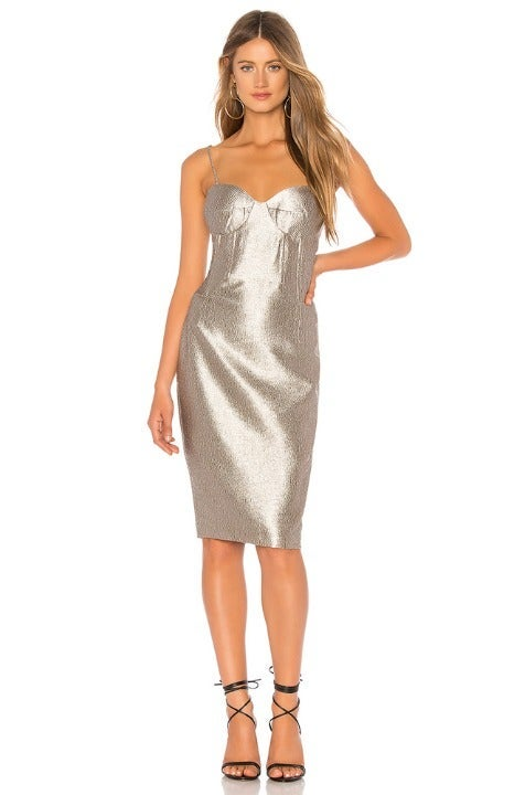 Bardot Champagne Shimmer Dress - XS