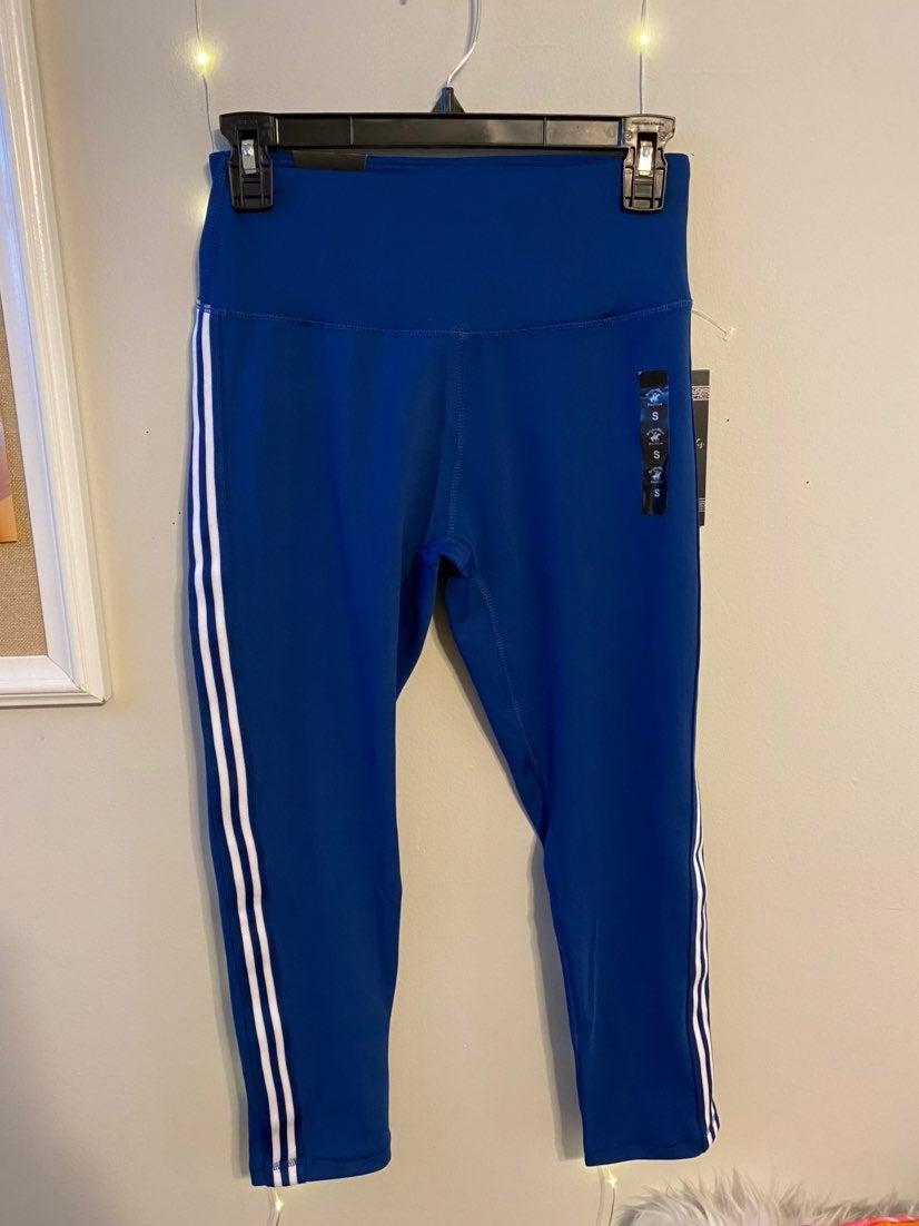 New blue leggings with white stripes