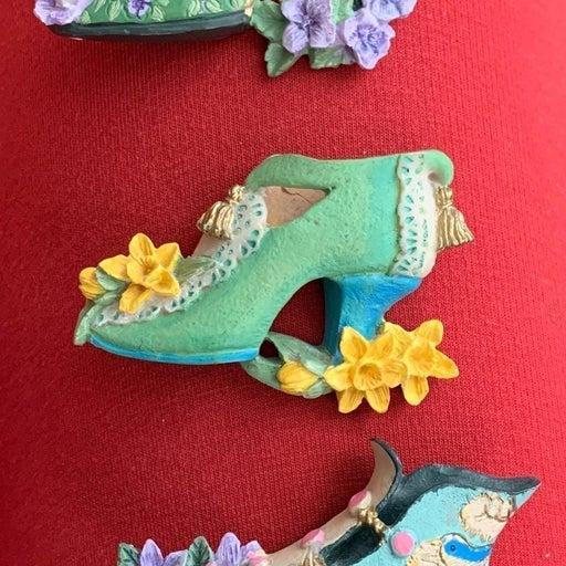Magnet flower Vintage shoes Set of 3