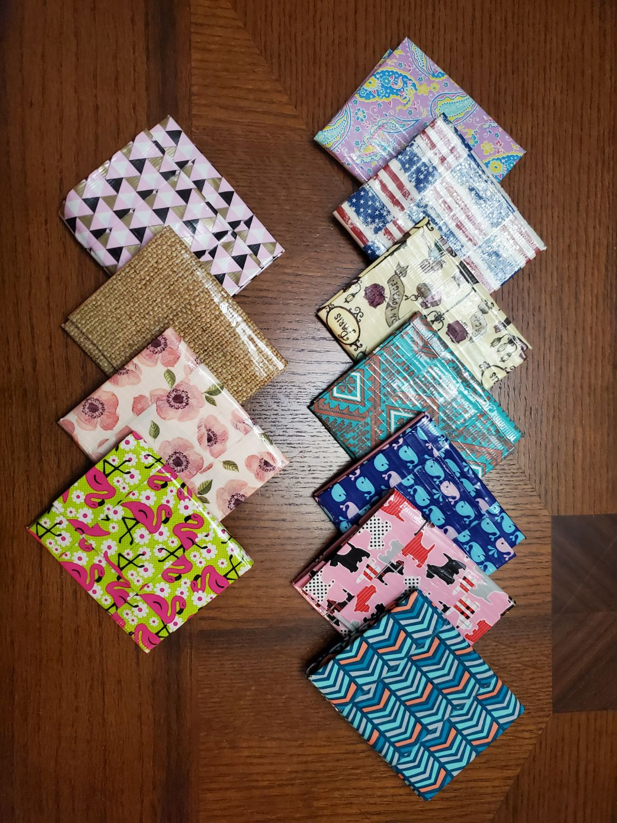 Set of 11 hand crafted wallets