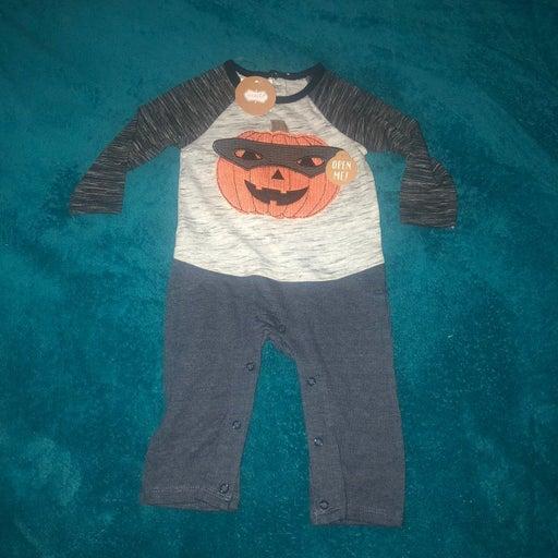 3-6 mo Boys pumpkin Halloween outfit