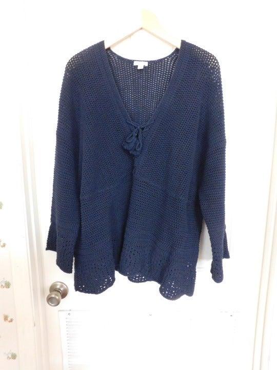 J. Jill  Navy Blue Open Knit Tassel Sweater Women's 2X NWOT