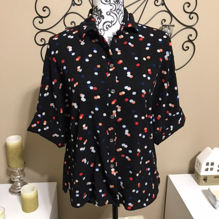 Vince Camuto Polka Dot Button Down XS