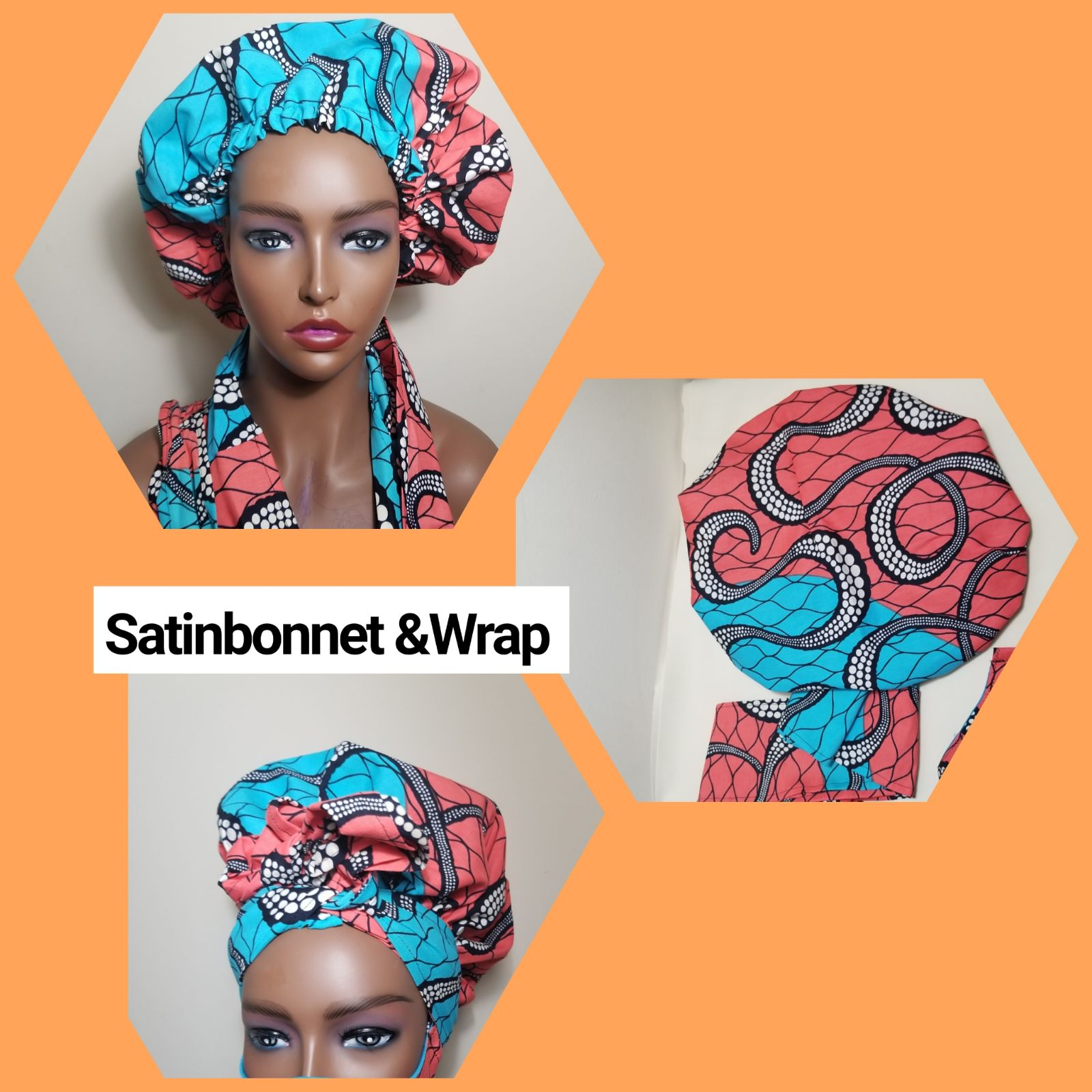 African Fabrics SatinBonnet & wrap