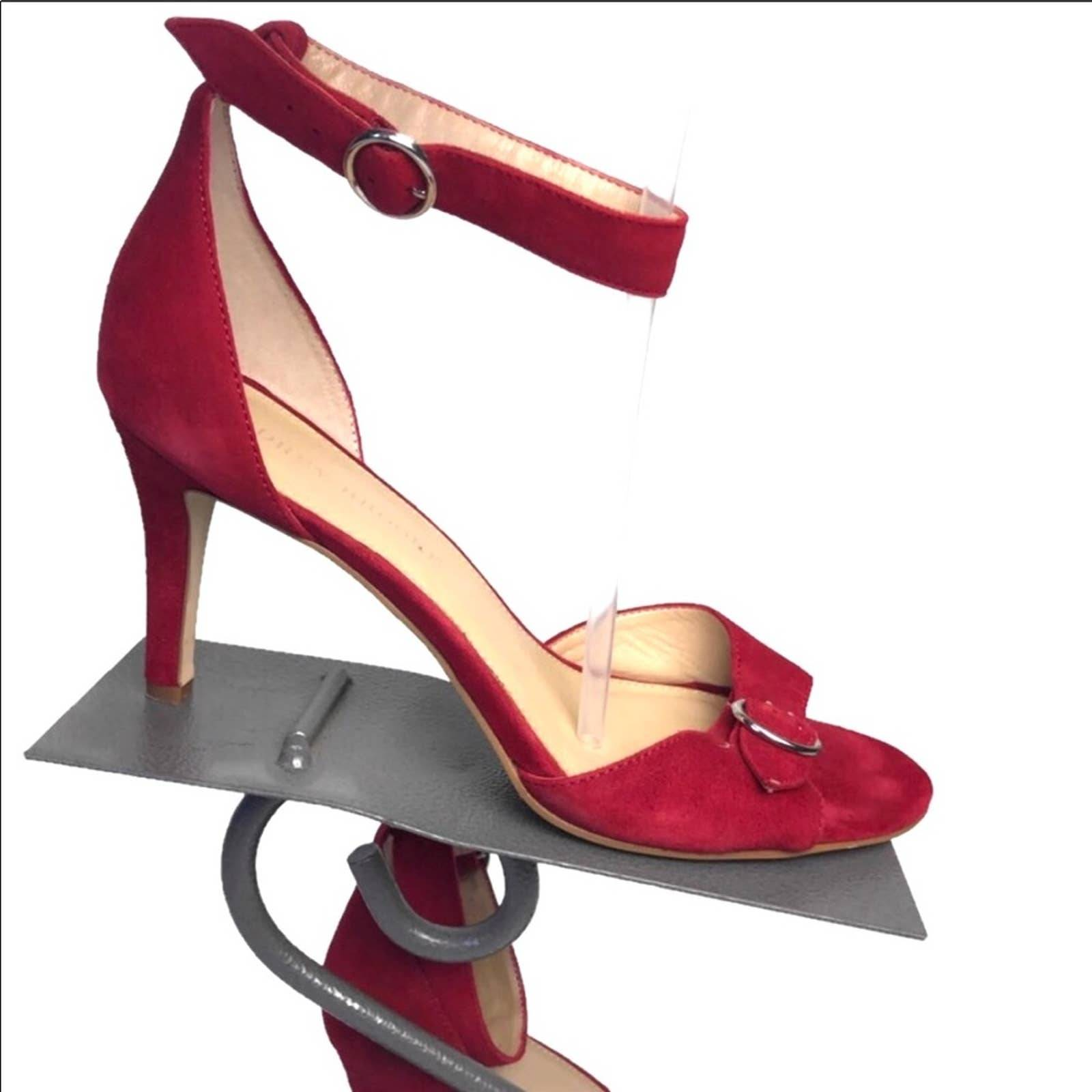 Audrey Brooke red suede leather heels