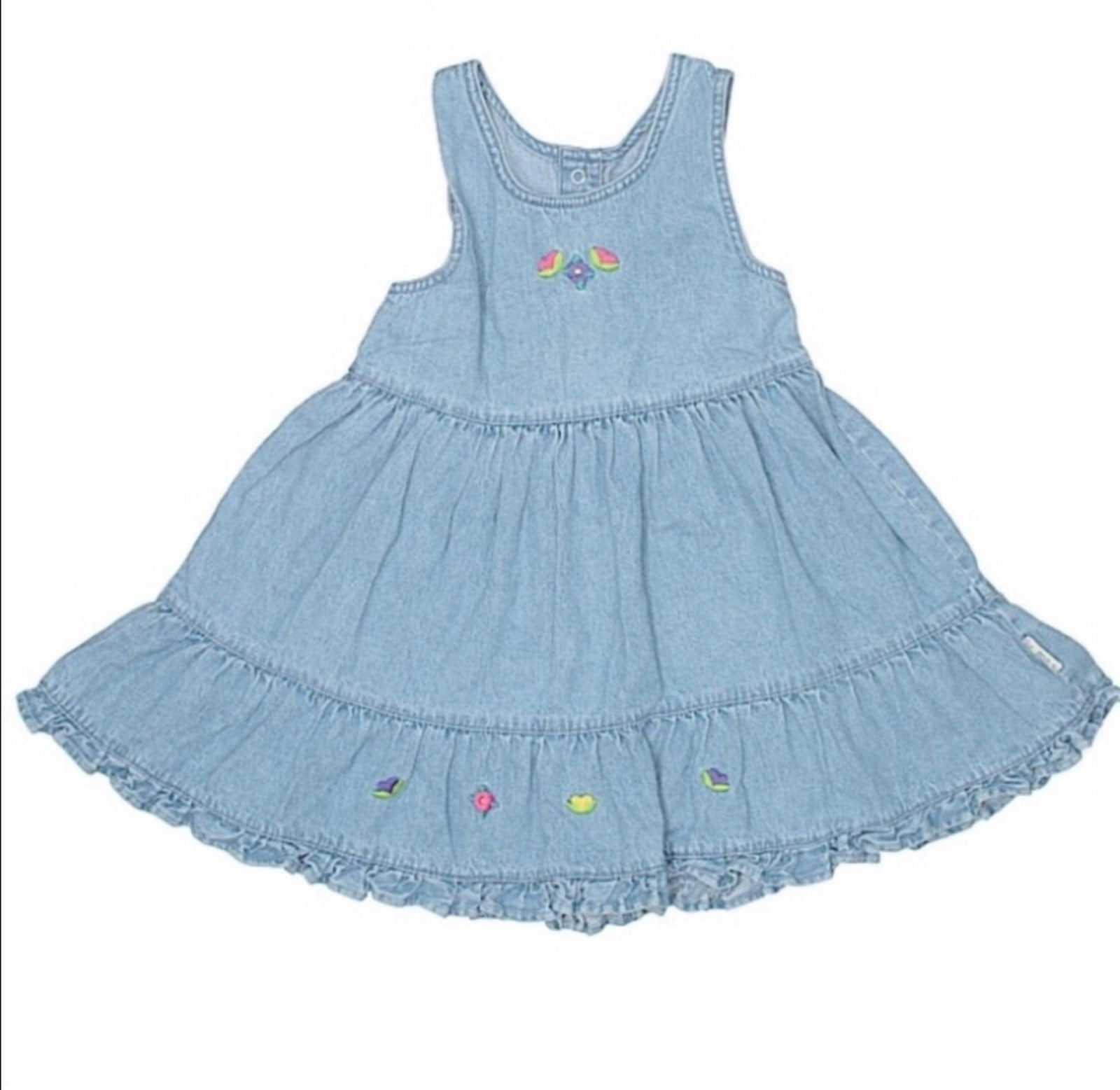 Vintage Gymboree Denim Ruffled Dress L