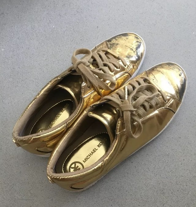 Michael Kors Gold Metallic Sneakers 8