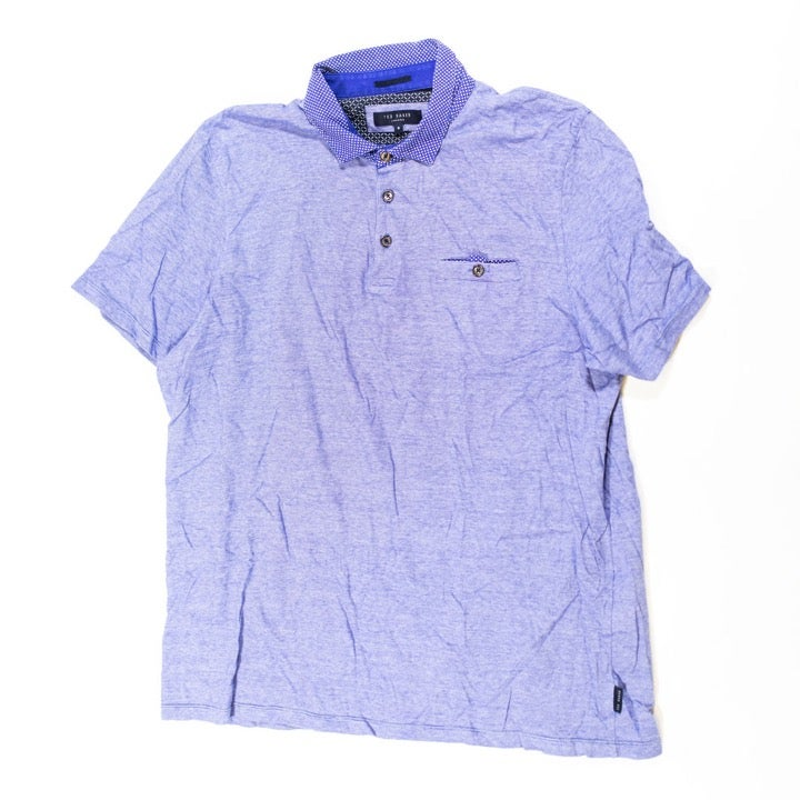 Ted Baker Cotton Striped Blue Polo Shirt