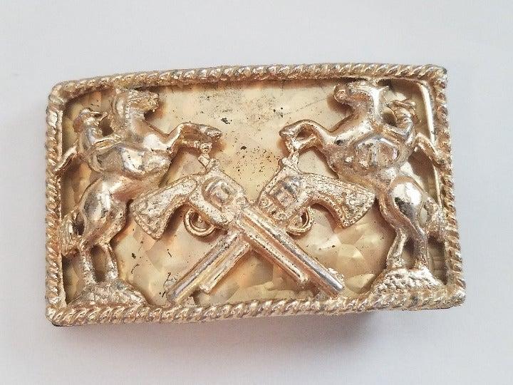 Cowboys & Crossed Pistols Brass Buckle