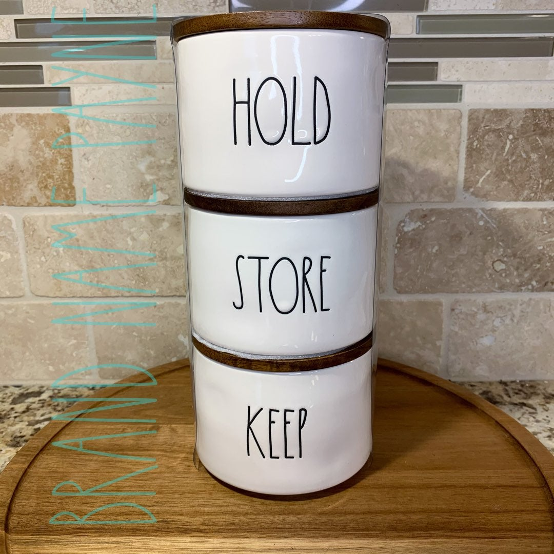 Rae Dunn Hold Store Keep Canister Set