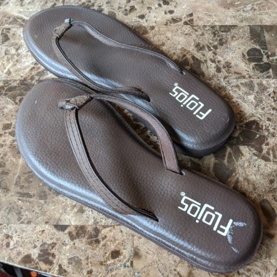 Brown Memory Foam Slip-On Thong Sandals