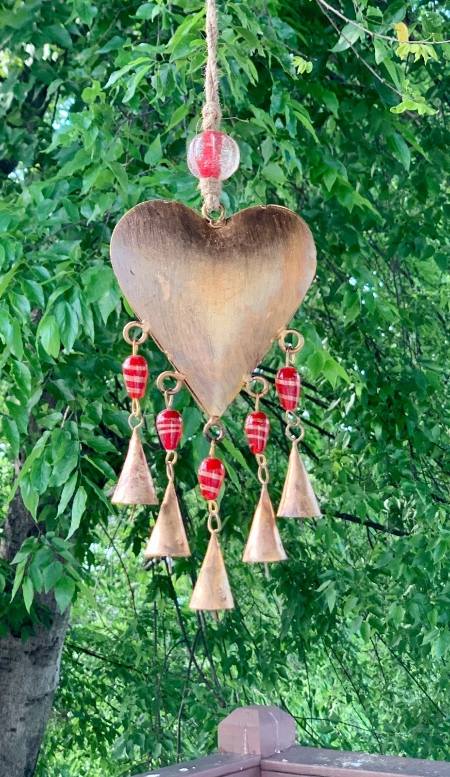 Brass Heart & Red Glass Beads Wind Chime