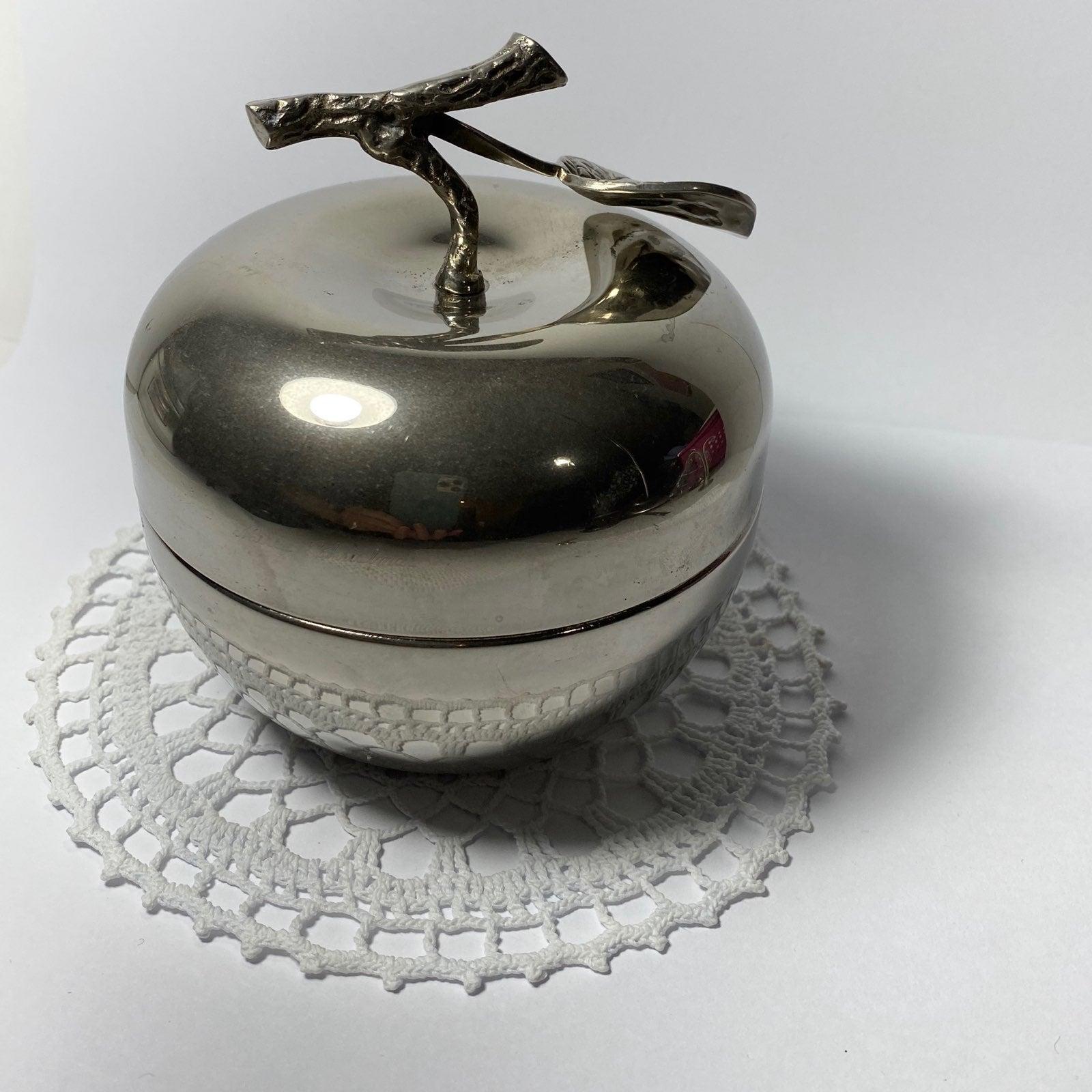 Silver Plated Apple Trinket Box