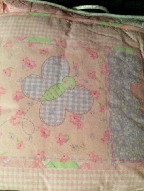 Butterfly PINK Crib Bumper Pad