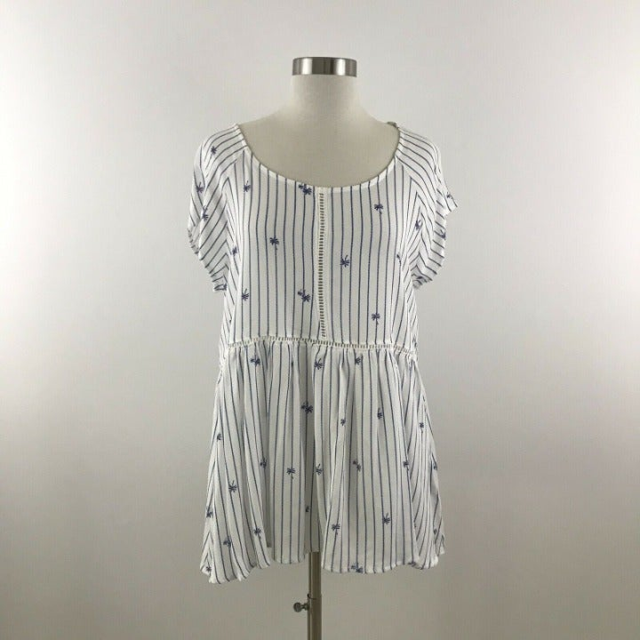 Crescent Top Women Large Striped White