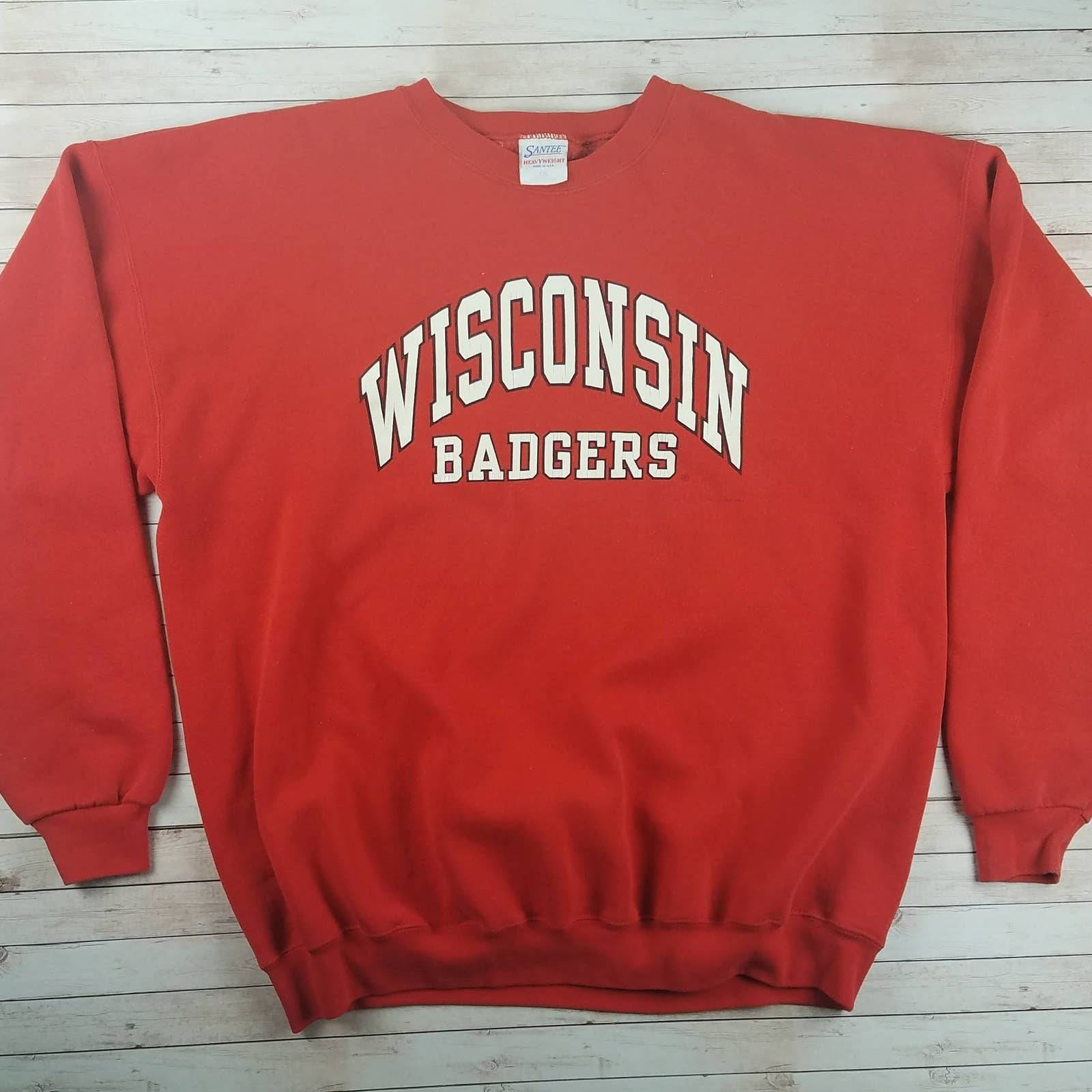 VTG 90s Wisconsin Badgers Red Sweatshirt