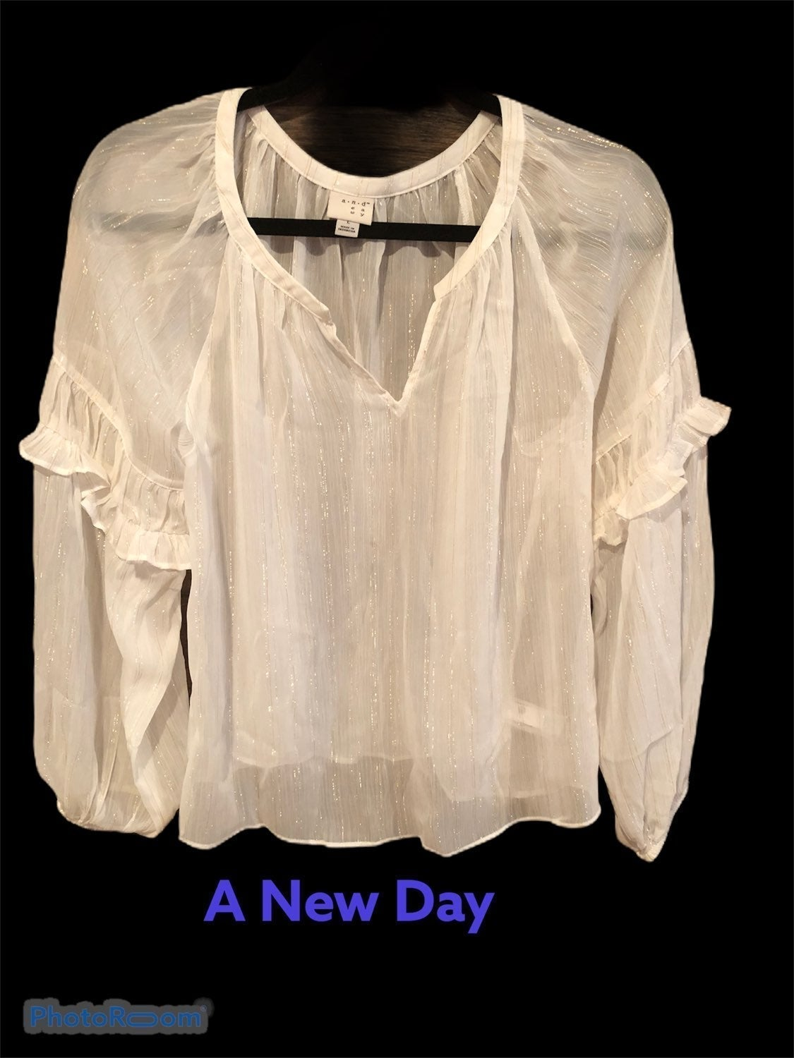A New Day Large NWT Sheer Peasant Blouse