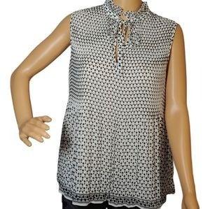 Max Studio Ruffled Pleated Tie-neck Blou