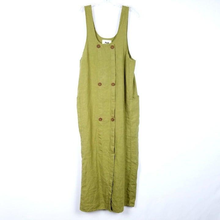 FLAX Linen Midi Dress Lagenlook Pockets