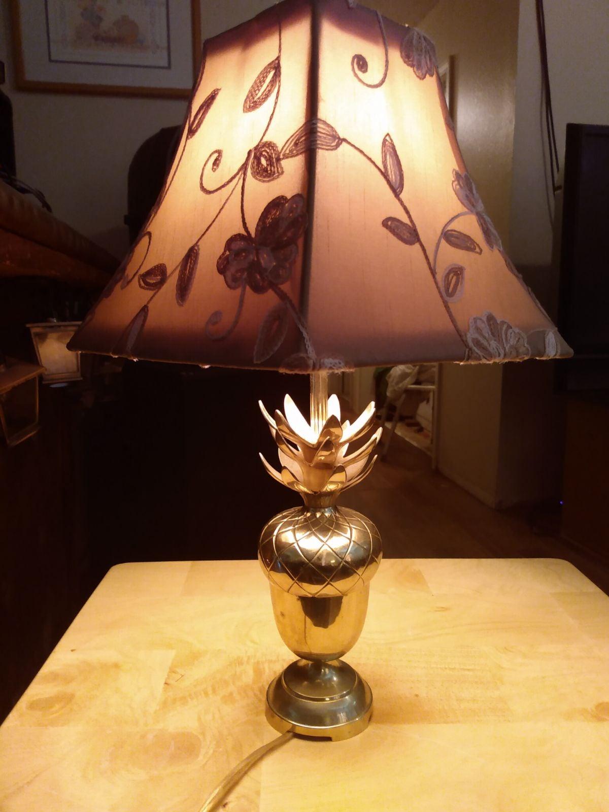 Vintage Brass Acorn Lamp