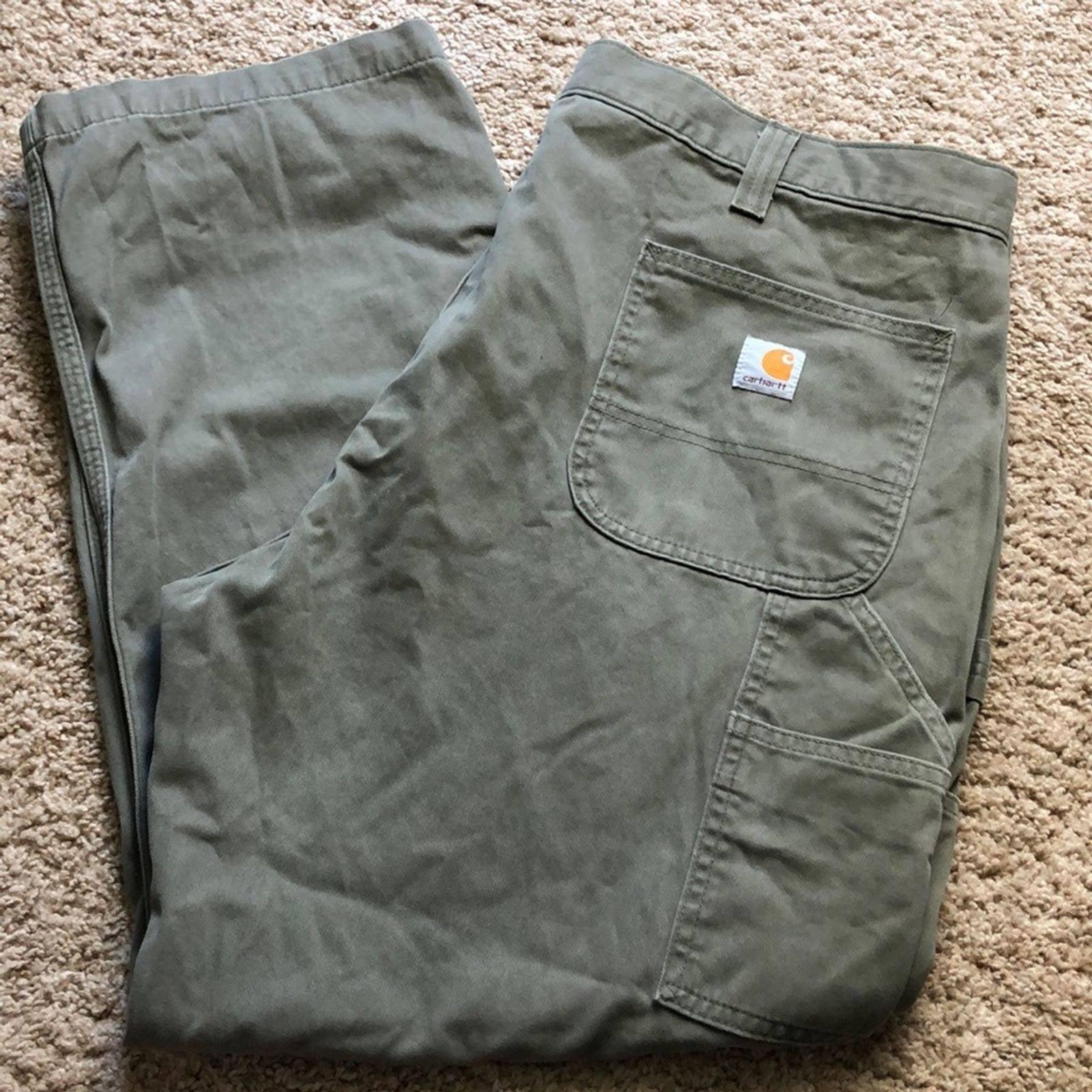Carhartt green khaki pants relaxed fit