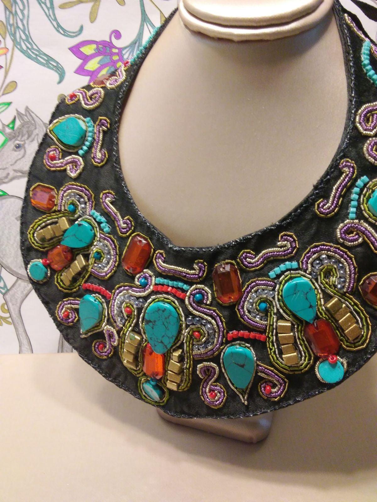 Antique bib necklace