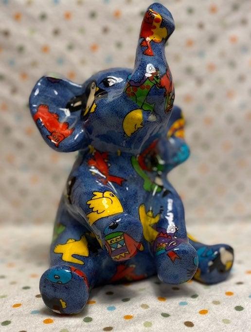 Whimsical Colorful Ceramic Elephant