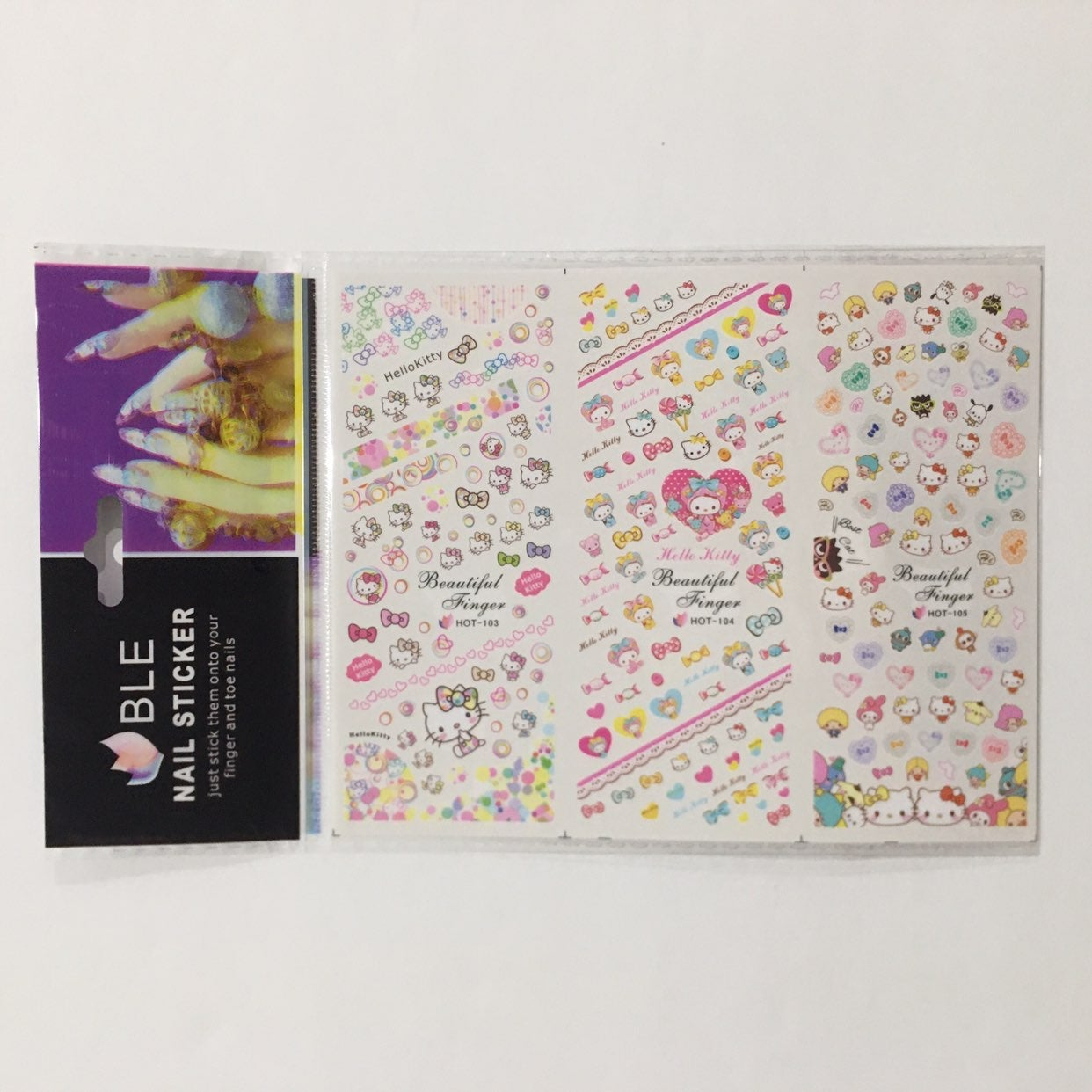 Colorful Hello Kitty Nail Decal Stickers