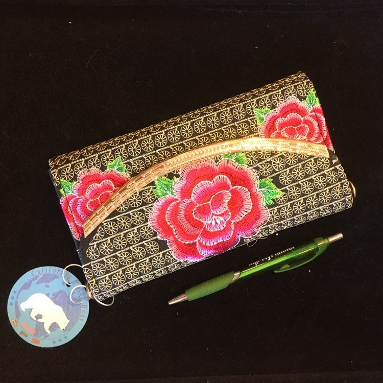 embroidered clutch wallet on chain