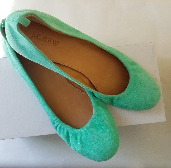 J. Crew Women Ballet Shoe Teal Anya SZ 8