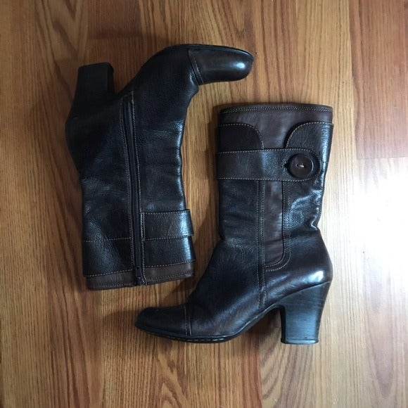 Born Brown Mid Calf Leather Heeled Boot - 7.5