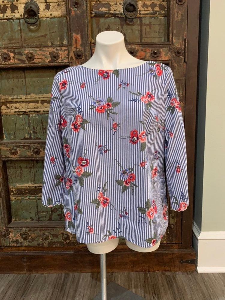 EUC Liz Claiborne striped floral shirt L