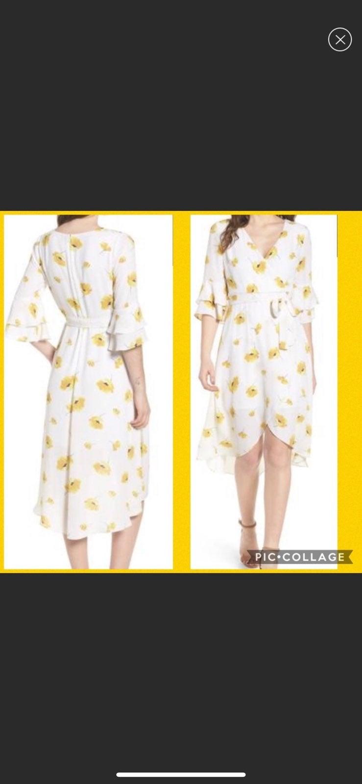 NWT Chelsea28 floral wrap midi dress M