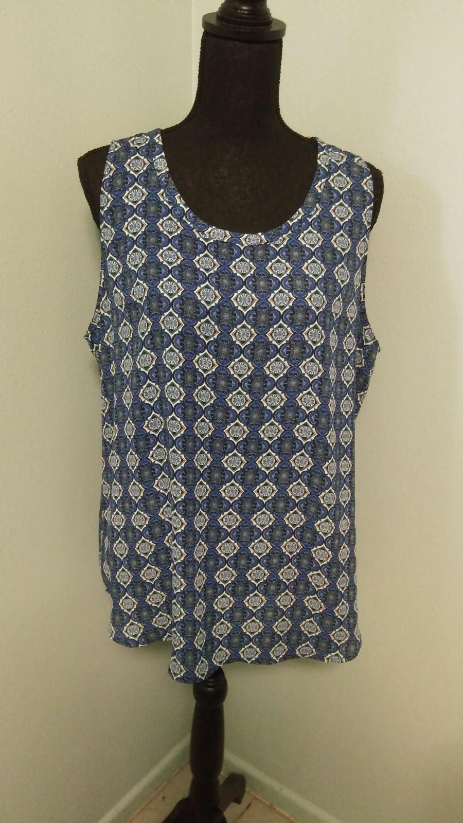 VanHeusen blue print sleeveless XL