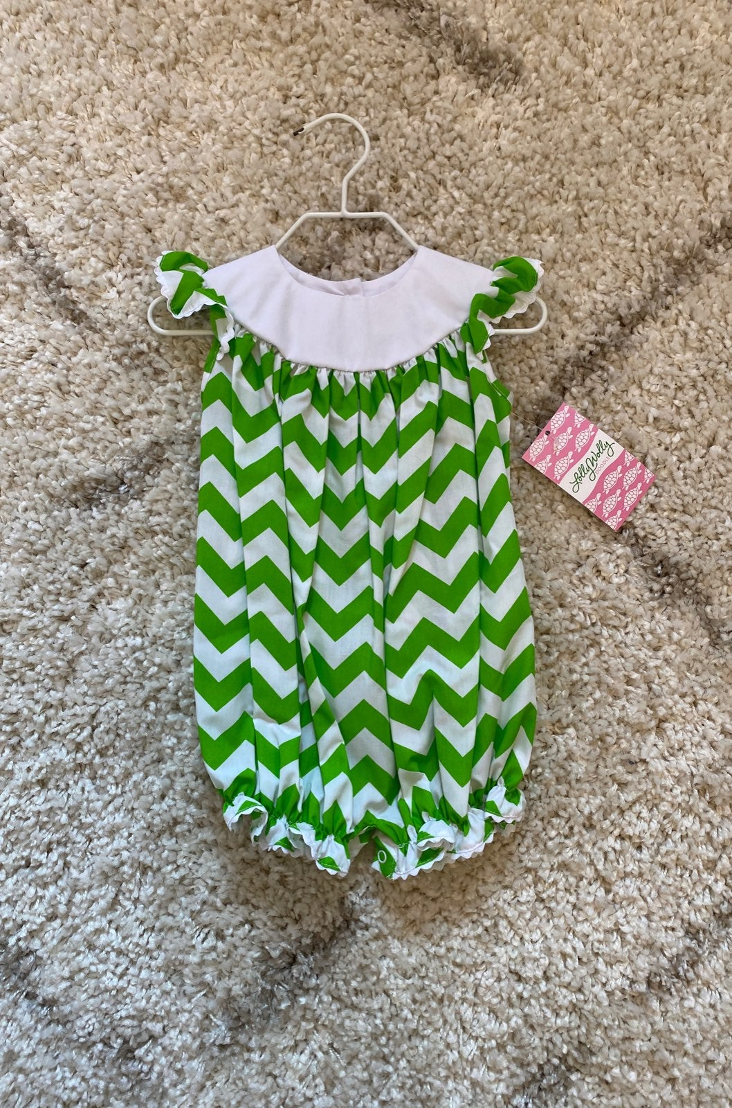 Lolly Wolly Doodle Lime Green Chevron Ro