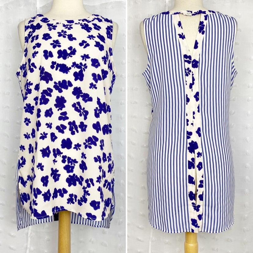 CAbi cream blue floral stripe tunic tank