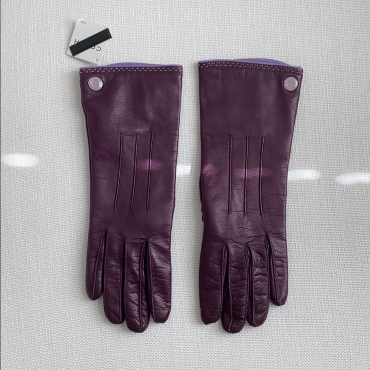 Coach purple leather gloves NEW