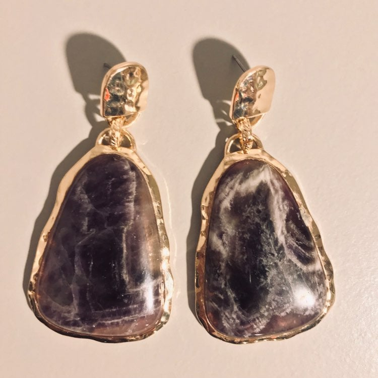 ••~Faux Amethyst—Stone Earrings~••