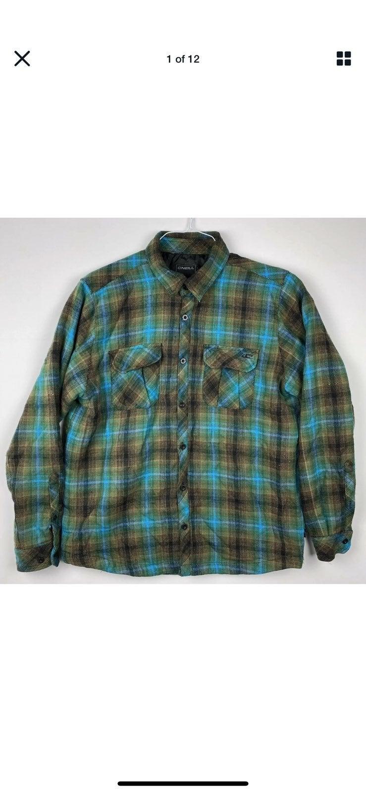 O'Neill Button Plaid Jacket Mens Medium