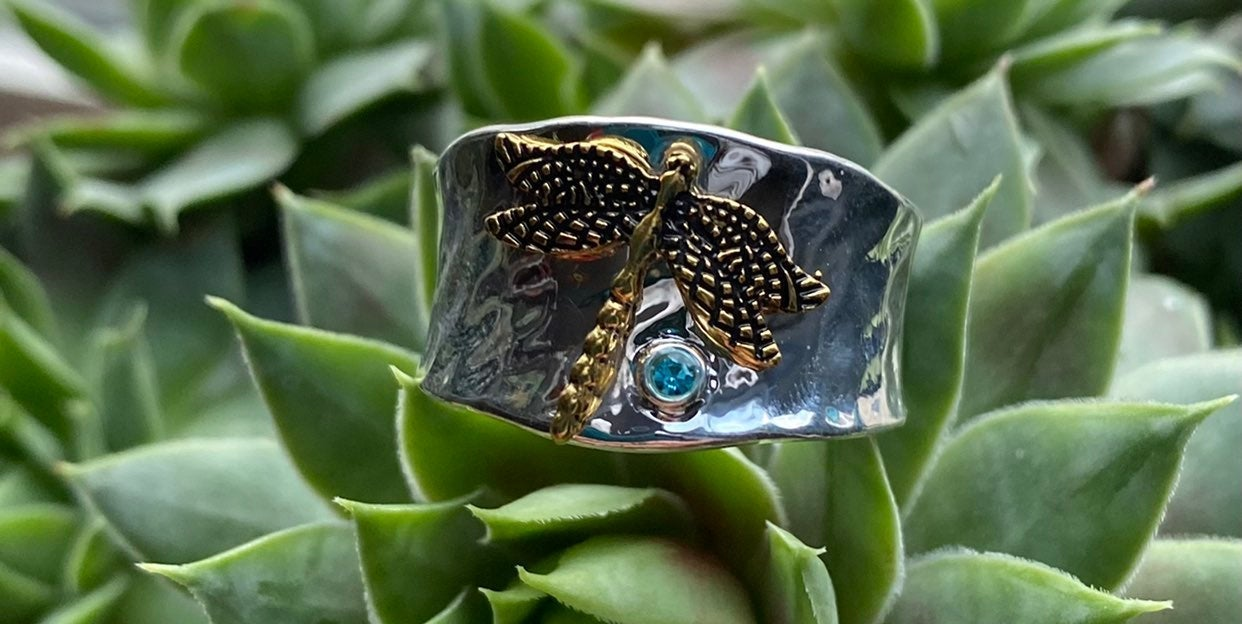 Silver dragonfly thumb ring size 11