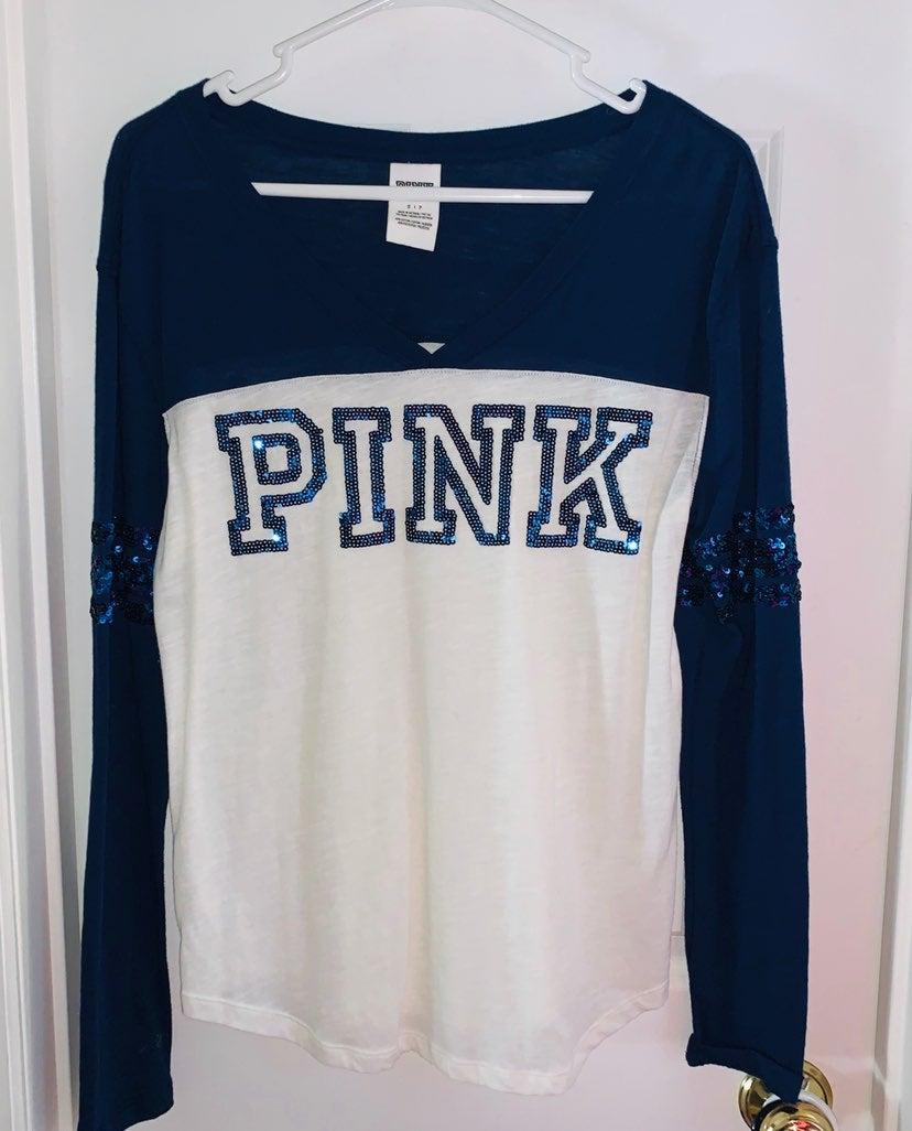 VS Love PINK  v-neck long sleeve bling T